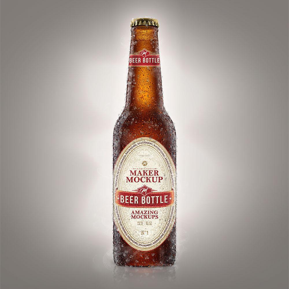 mockup de garrafa de cerveja